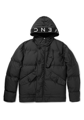 Givenchy - Logo-trimmed Quilted Shell Hooded Jacket - Black