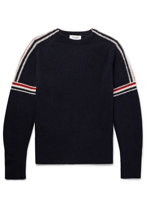 Thom Browne - Striped-intarsia Wool And Mohair-blend Sweater - Navy