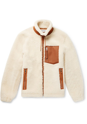 Loewe - Leather-trimmed Shearling Jacket - Cream