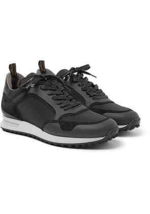 Dunhill - Radial Leather And Suede-trimmed Mesh Sneakers - Black