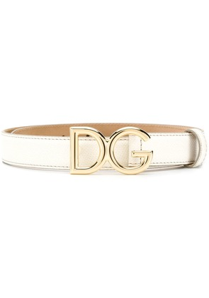 Dolce & Gabbana logo buckle belt - White