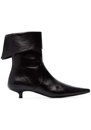 Dorateymur black crucified 30 leather cuffed ankle boots