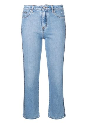 MSGM logo band cropped jeans - Blue