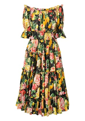 Dolce & Gabbana floral print flared dress - Yellow