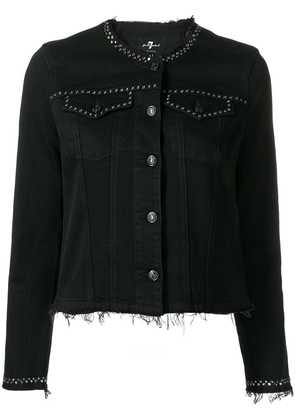 7 For All Mankind studded denim jacket - Vintage Gravity Black
