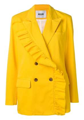 MSGM ruffle trim double breasted jacket - Yellow