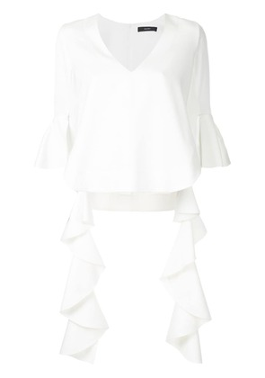 Ellery Ace frilled-sleeve top - White