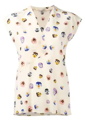 Christopher Kane ditsy pansy print blouse - Neutrals