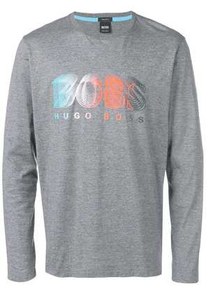 Boss Hugo Boss logo graphic jersey top - Grey