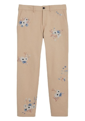 Burberry Slim Fit Floral Embroidered Cotton Chinos - Neutrals
