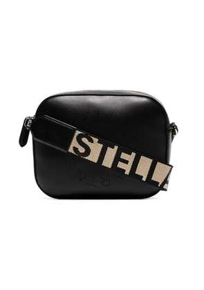 Stella McCartney black logo strap mini camera bag