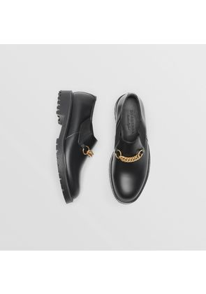 Burberry Link Detail Leather Shoes, Black