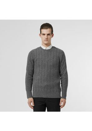 Burberry Cable Knit Cashmere Sweater, Grey