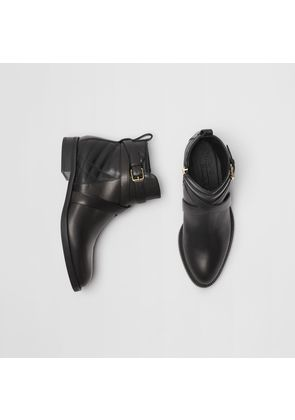 Burberry Strap Detail Quilted Leather Ankle Boots, Black