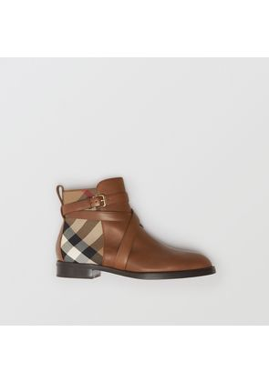Burberry Strap Detail House Check and Leather Ankle Boots, Beige