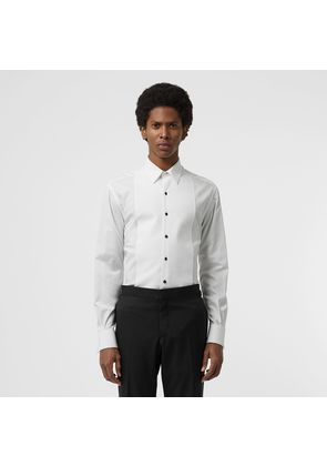 Burberry Modern Fit Panelled Bib Cotton Twill Evening Shirt, White