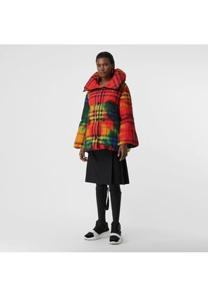 Burberry Tie-dye Vintage Check Down-filled Puffer Coat, Red
