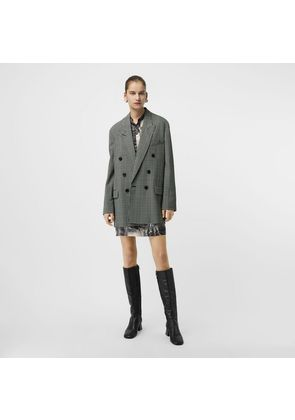 Burberry Prince of Wales Check Wool Oversized Jacket, Green