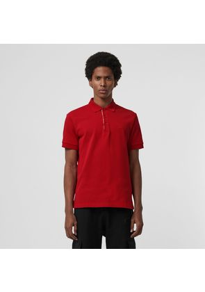 Burberry Check Placket Cotton Polo Shirt, Red