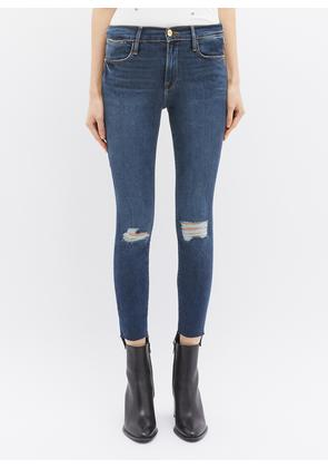 'Le High Skinny' staggered cuff ripped jeans