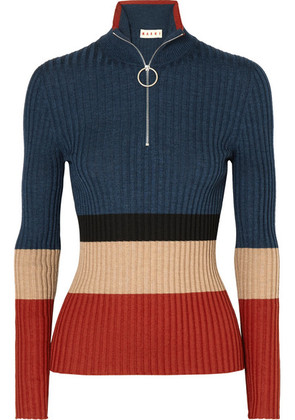 Marni - Color-block Ribbed Wool And Silk-blend Sweater - Blue