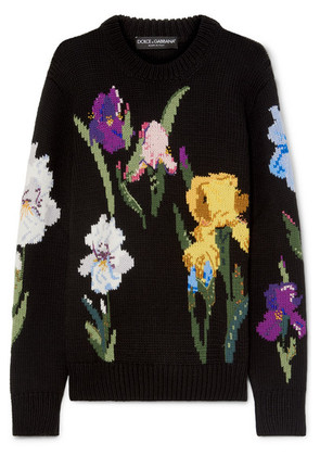 Dolce & Gabbana - Embroidered Floral-intarsia Wool Sweater - Black