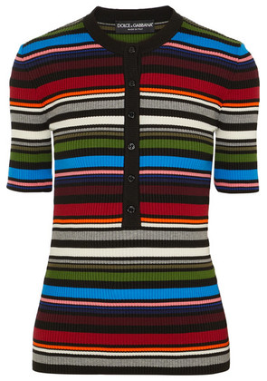 Dolce & Gabbana - Striped Ribbed Cotton-blend Sweater - Red