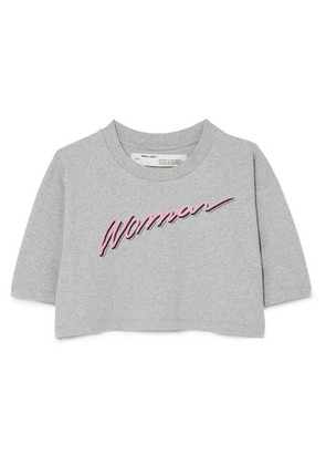 Off-White - International Women's Day Cropped Printed Cotton-jersey T-shirt - Light gray