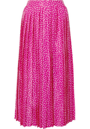 Off-White - Cropped Pleated Satin Wide-leg Pants - Fuchsia