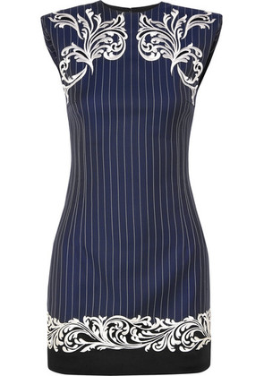 Versace - Satin-trimmed Embroidered Pinstriped Wool Mini Dress - Navy