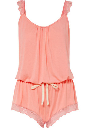Eberjey - Delfina The Enchanted Lace-trimmed Stretch-modal Playsuit - Peach