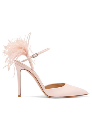 Gianvito Rossi - 100 Feather-trimmed Patent-leather Pumps - Baby pink