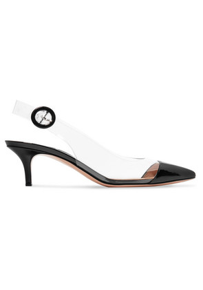 Gianvito Rossi - 55 Patent-leather And Pvc Slingback Pumps - Black