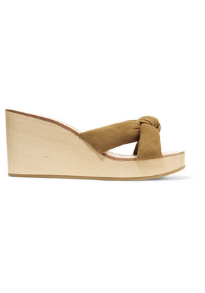 Loeffler Randall - Taylor Knotted Suede Wedge Sandals - Tan
