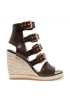 Laurence Dacade - Rosario Buckled Leather Espadrille Wedge Sandals - Chocolate