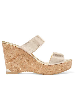 Jimmy Choo - Parker 100 Metallic Textured-leather Wedge Sandals - Gold