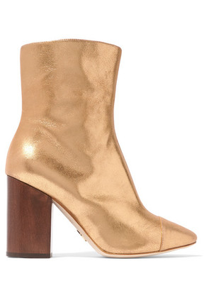 Brother Vellies - Bianca Metallic Brushed-leather Ankle Boots - Gold