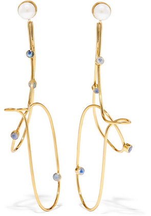 Cornelia Webb - Gold-plated Pearl And Moonstone Earrings - one size