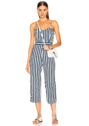 MOTHER Cut-It-Out Jumpsuit in Blue,Stripes,White