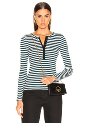 rag & bone/JEAN Halifax Henley Long Sleeve in Green,Stripes,Pink