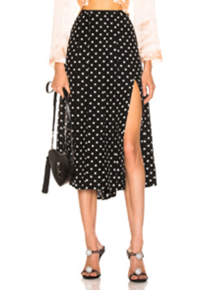 RIXO Georgia Pearl Spot Skirt in Black,Polka Dots,White