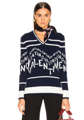Valentino Chevron Sweater in Blue
