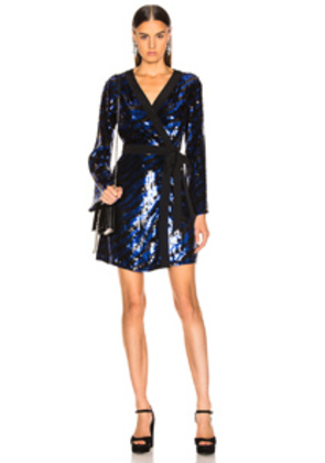 RIXO Maria Sequin Dress in Blue