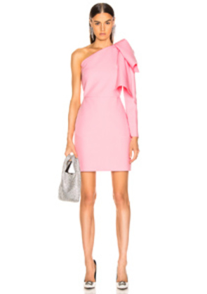 MSGM One Shoulder Crepe Dress in Pink