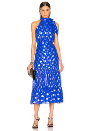 RIXO Eleanor Lame Spot Dress in Blue,Polka Dots,Metallic