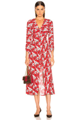RIXO Katie Dress in Floral,Red