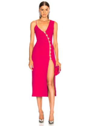 David Koma Side Slit Midi Dress in Pink
