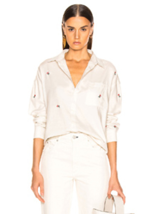 AMO Rosebud Embroidered Boxy Shirt in Floral,White