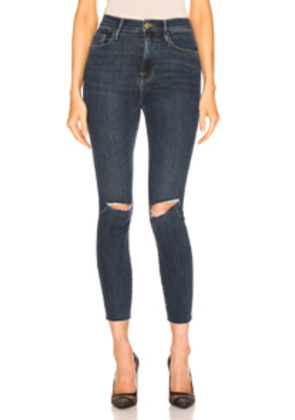 FRAME Ali High Rise Skinny Cigarette Denim in Denim Dark