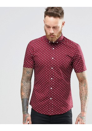 ASOS Skinny Fit Shirt With Polka Dot In Burgundy With Short Sleeves - Burgundy